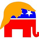 Republican Elephant Logo with Blond Trump Wig by Elaine Plesser