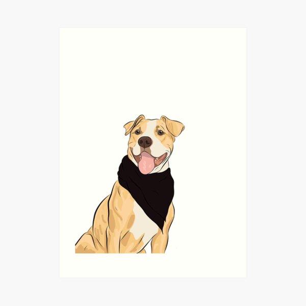 artist sweet ACEO PRINT pet dog cookie PIT BULL TREAT art bone food