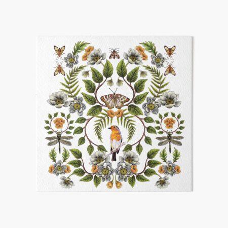 Spring Reflection - Floral/Botanical Pattern w/ Birds, Moths, Dragonflies & Flowers Art Board Print