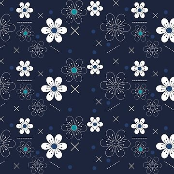 Playful Blue Floral Pattern by BuzzEdition