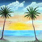 18 X 24 Sunrise Palms and Lighthouse,oil on canvas by Mike0001