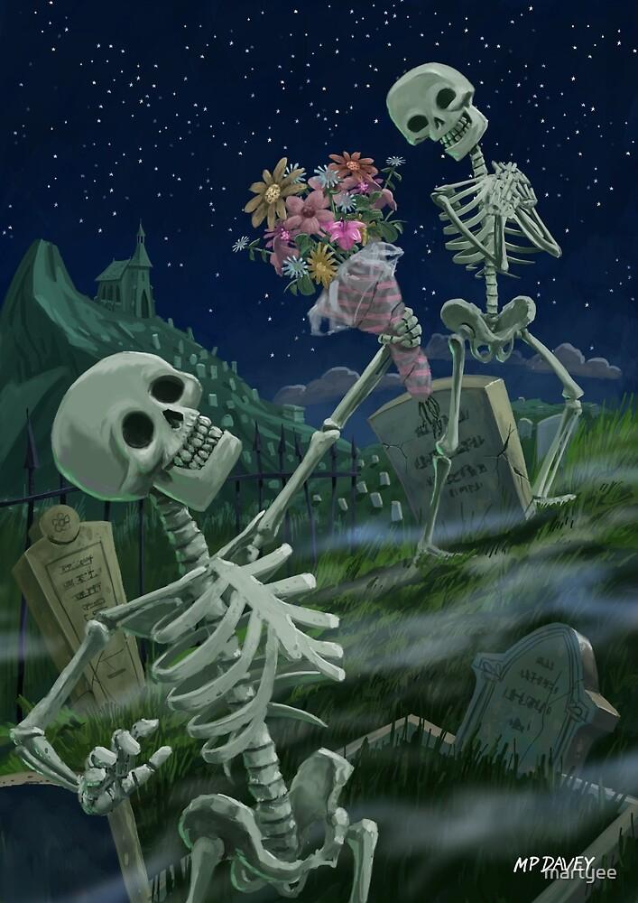 Romantic Valentine Skeletons in Graveyard by martyee