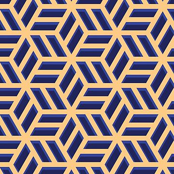 BLUE AND GOLD 3D PATTERN by fadibones