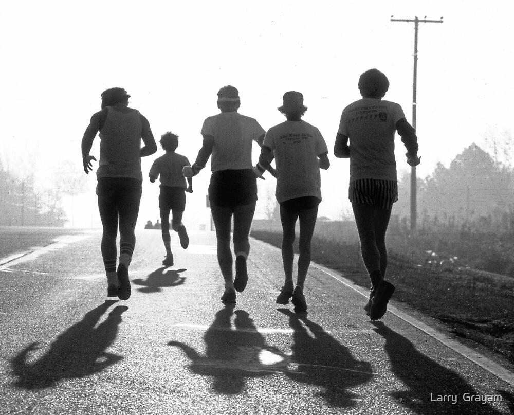 Morning run BW by Larry  Grayam