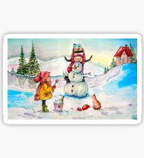 Watercolor paintings winter landscape. Holiday, children and showman. Fine art. Sticker