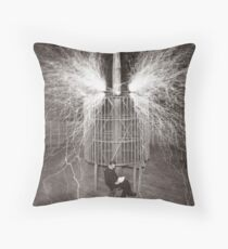 Tesla In Study Throw Pillow