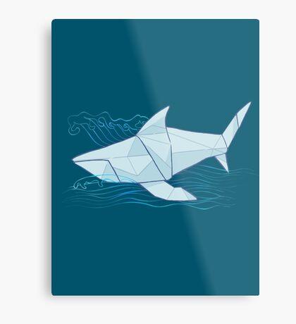 Origami Chomp Chomp On Blue Metal Print