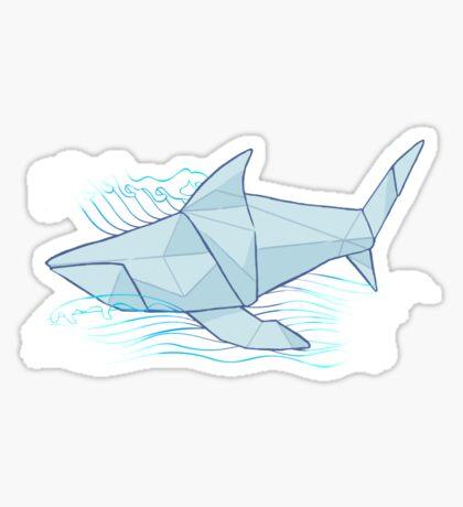 Origami Chomp Chomp On Blue Sticker