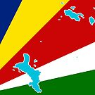 Seychelles Flag with Map of the Seychelles Islands by Havocgirl