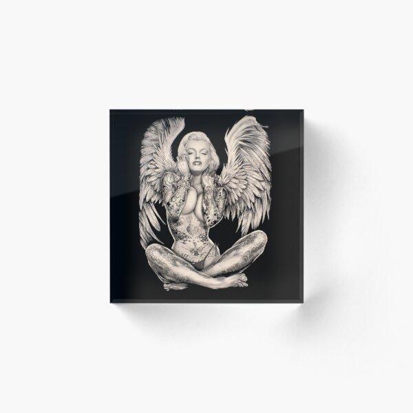 MARILYN : Vintage Abstract Tattooed Angel Print Acrylic Block