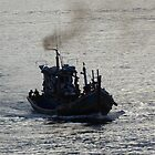 A puff of smoke from a fishing boat by GedTKirk