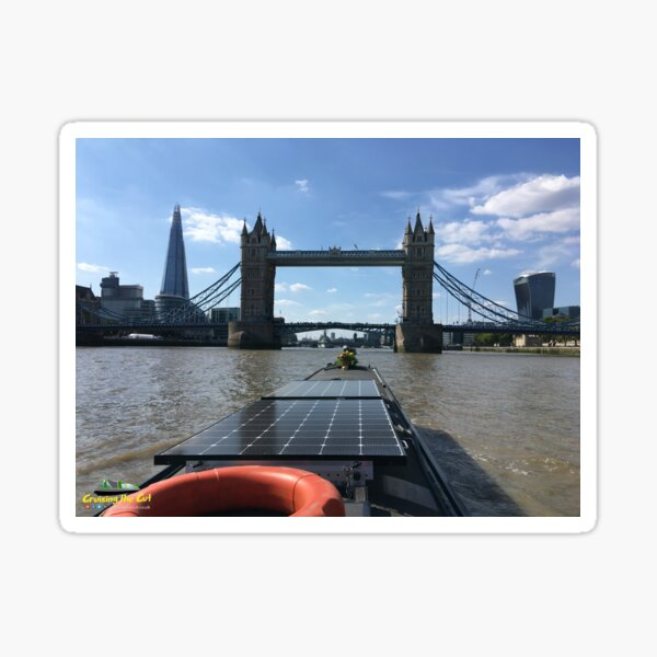 Narrowboat approaching Tower Bridge on the River Thames in London Sticker