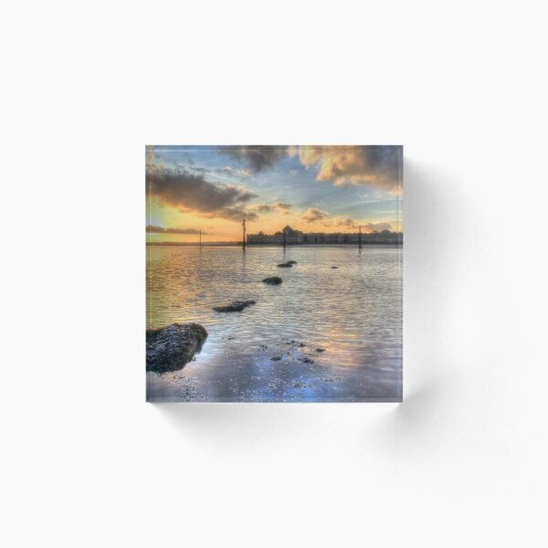 Portchester castle with setting sun reflected in harbour Acrylic Block