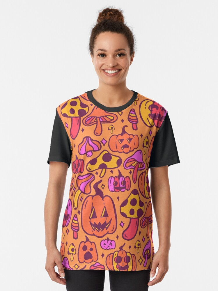Alternate view of Mushrooms and Pumpkins Graphic T-Shirt