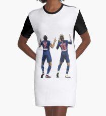 Kylian Mbappe & Neymar Jr | PSG Celebration Illustration Design Graphic T-Shirt Dress
