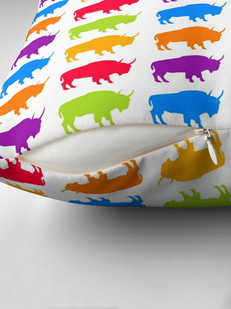Alternate view of colorful buffalo pattern Throw Pillow