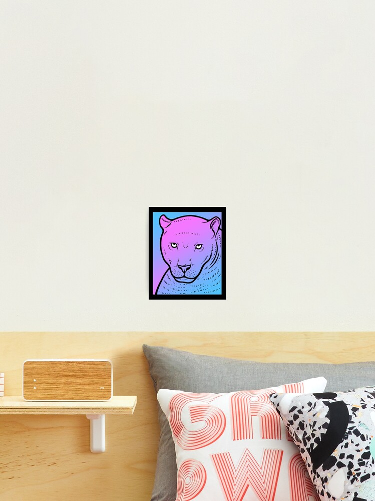 Vaporwave Panther Aesthetic Pastel Goth Big Cat Photographic Print By Dinosareforever Redbubble