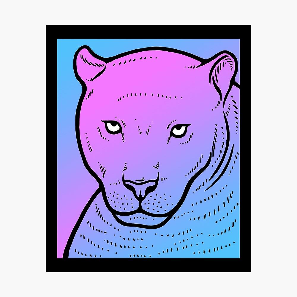 Vaporwave Panther Aesthetic Pastel Goth Big Cat Framed Art Print By Dinosareforever Redbubble