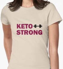Keto strong inspirational tee, maroon text Women's Fitted T-Shirt
