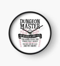 Dungeon Master, The Weaver of Lore & Fate - Dungeons & Dragons (Black Text) Clock