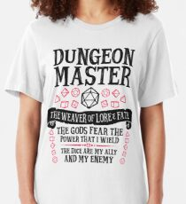Dungeon Master, The Weaver of Lore & Fate - Dungeons & Dragons (Black Text) Slim Fit T-Shirt