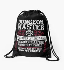 Dungeon Master, The Weaver of Lore & Fate - Dungeons & Dragons (White Text) Drawstring Bag
