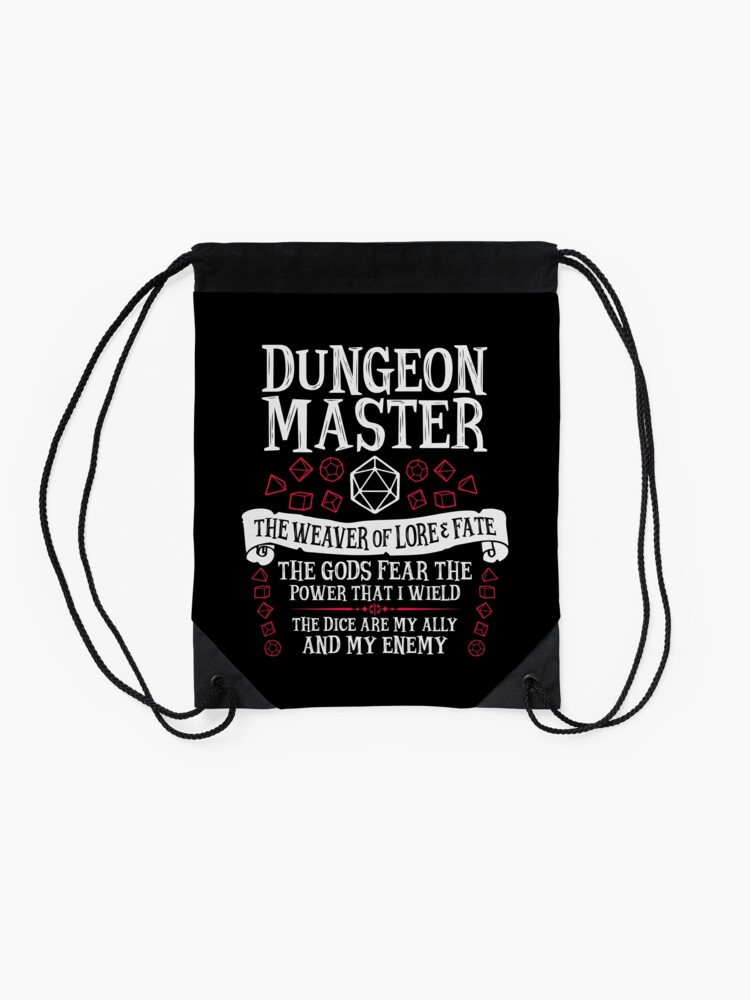 Alternate view of Dungeon Master, The Weaver of Lore & Fate - Dungeons & Dragons (White Text) Drawstring Bag