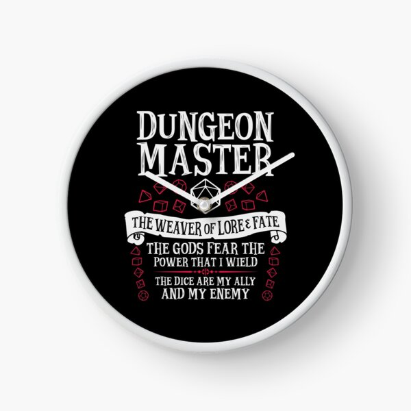 Dungeon Master, The Weaver of Lore & Fate - Dungeons & Dragons (White Text) Clock