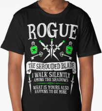 ROGUE, THE SHROUDED BLADE - Dungeons & Dragons (White Text) Long T-Shirt