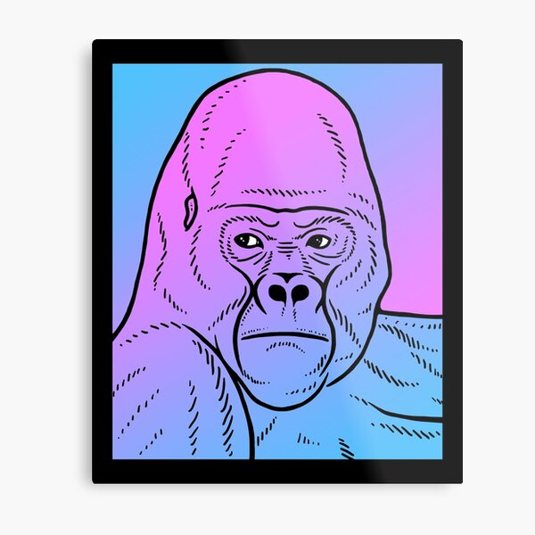 Vaporwave Gorilla Aesthetic Pastel Goth Primate Metal Print