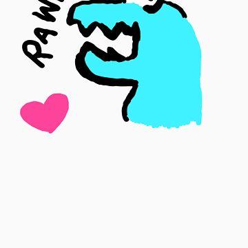 rawr! is 'i love you' in dinosaur! by blumascara