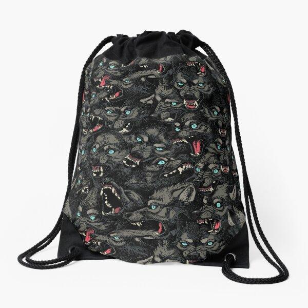 Wolf Pack Pattern Drawstring Bag
