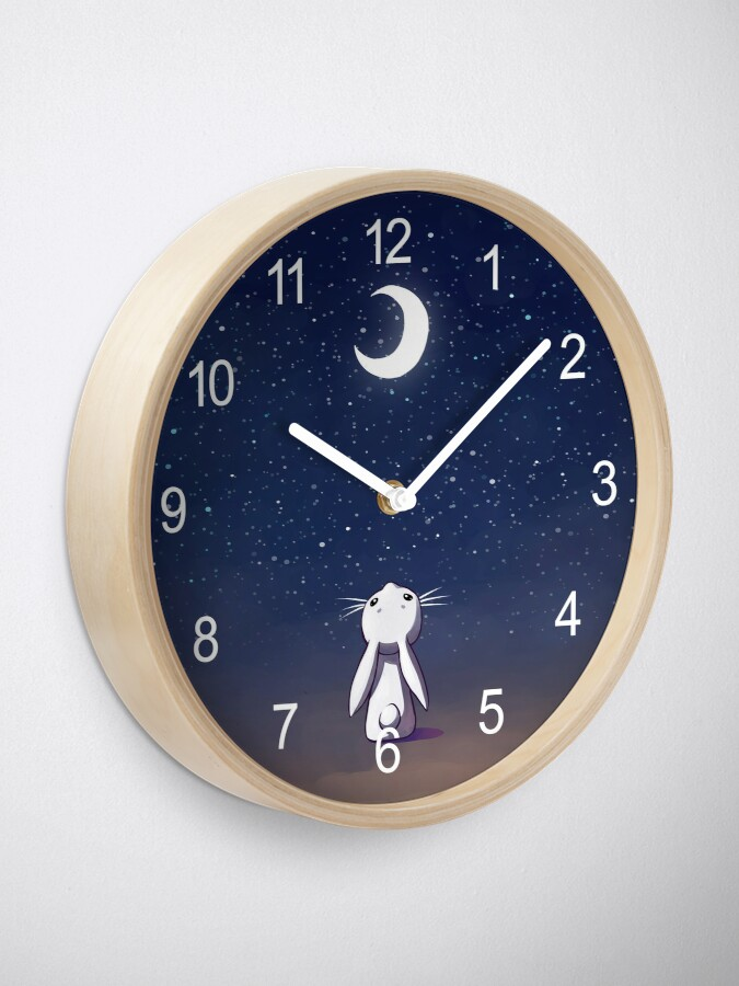 Alternate view of Moon Bunny Clock