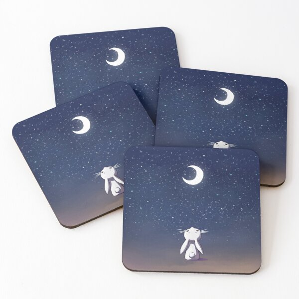 Moon Bunny Coasters (Set of 4)