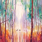 They Know - An Autumn Woodland Landscape With Deer by Gill Bustamante