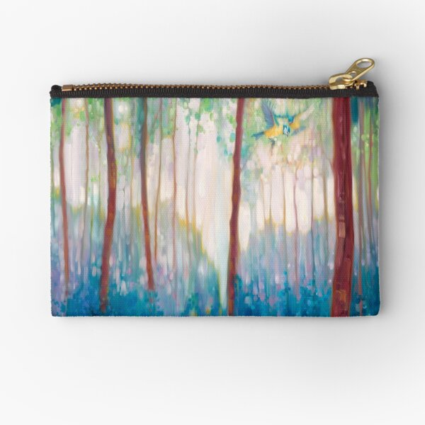 JUBILANT SPRING - A FOREST LANDSCAPE WITH BLUE TITS AND BLUEBELLS Zipper Pouch