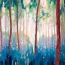 JUBILANT SPRING - A FOREST LANDSCAPE WITH BLUE TITS AND BLUEBELLS by Gill Bustamante
