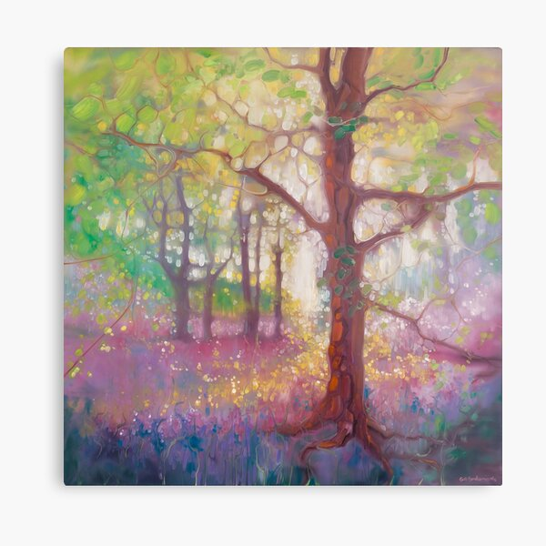 April in the Forest - a bluebell and wildflower woodland painting Metal Print