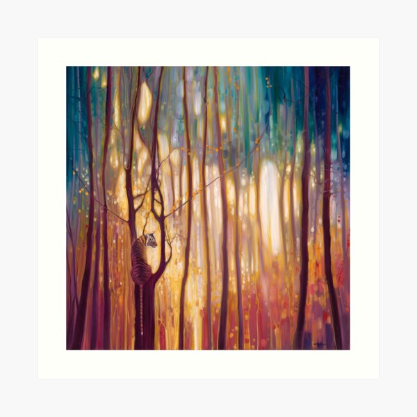 Tiger Tiger Burning Bright - A tiger in a glowing forest artwork Art Print
