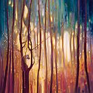 Tiger Tiger Burning Bright - A tiger in a glowing forest artwork by Gill Bustamante