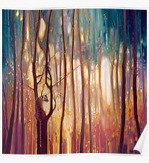 Tiger Tiger Burning Bright - Ein Tiger in einem leuchtenden Wald Kunstwerk Poster