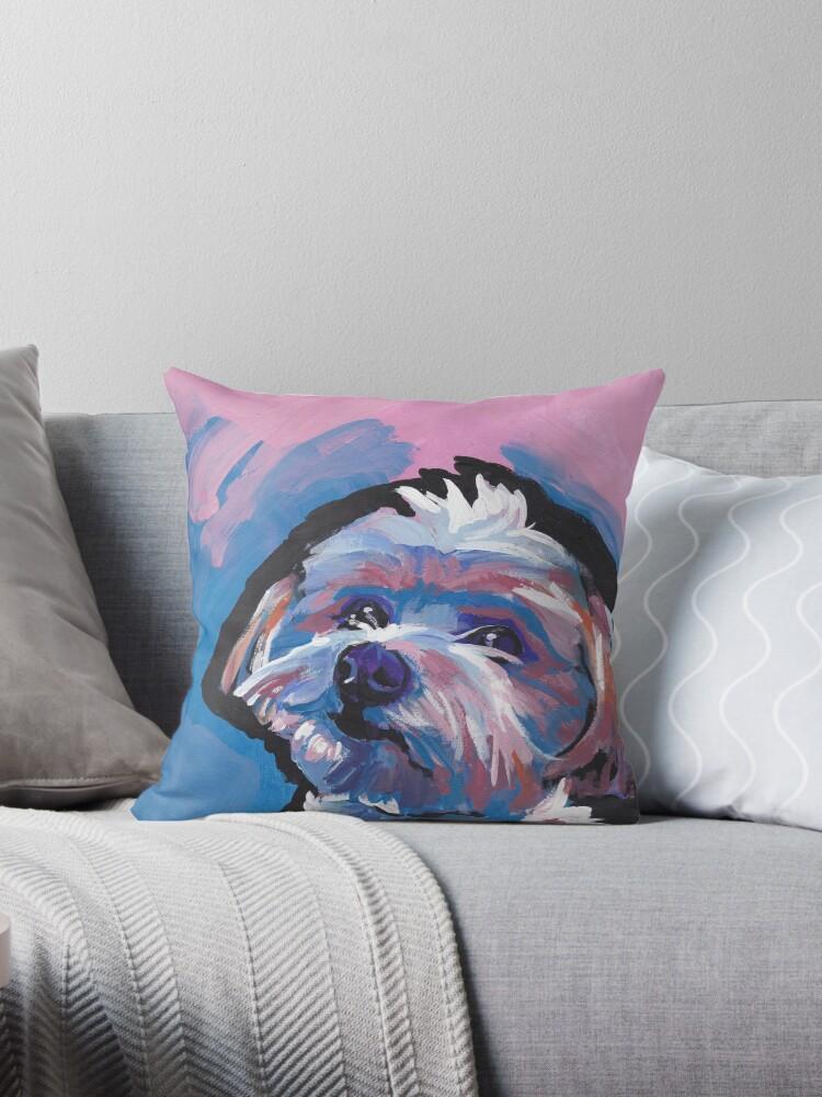 Morkie Maltese Yorkie Dog Bright Colorful Pop Dog Art Throw Pillow By Bentnotbroken11