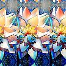 Watercolor Lotus stripes by Sheila Asato