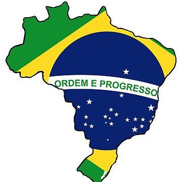 Brazil Brasil Map with Brazil Brasil Flag by Havocgirl