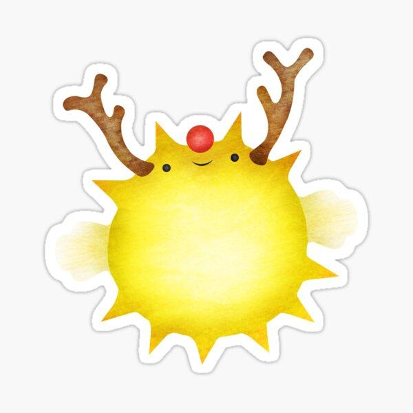 Holiday Pufferfish Reindeer Sticker