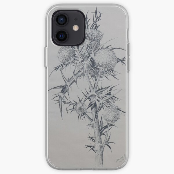 Thistle - black and white ink illustration iPhone Soft Case