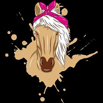 Horse Head Pink Bandana White Mane Gift by Sandra78