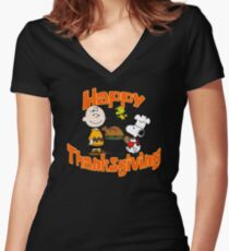 Happy Thanksgiving! Women's Fitted V-Neck T-Shirt