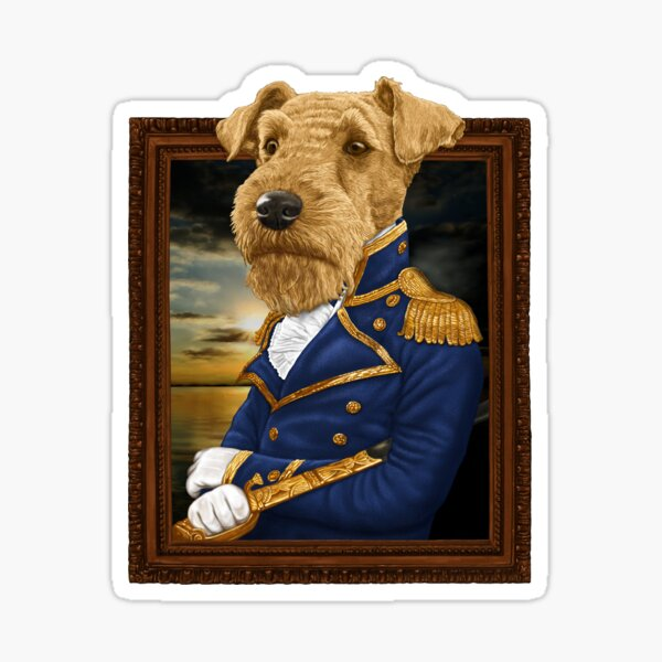 His Royal Admiral Airdale Terrier Sticker