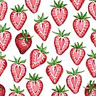 Watercolor Strawberries on White by Paisley Hansen